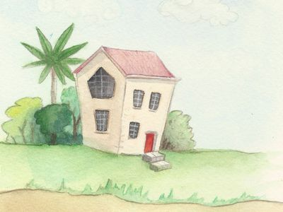 A watercolour painting of a house