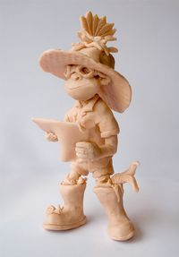A clay model of the books main character